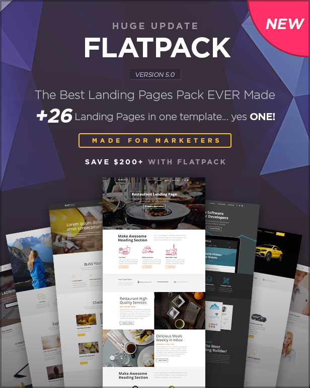 main image - FLATPACK – Landing Pages Pack With Page Builder