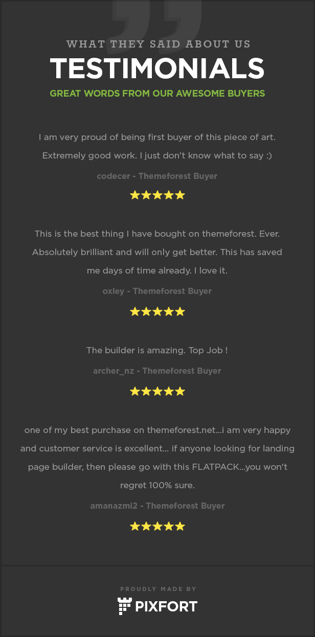 testimonials - FLATPACK – Landing Pages Pack With Page Builder